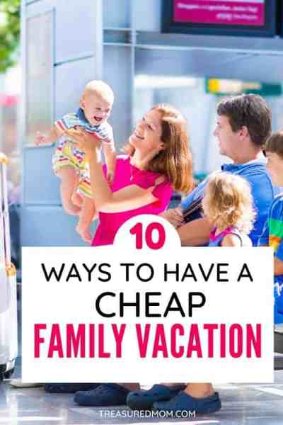 mom dad and kids at airport with suitcases for cheap family vacation ideas