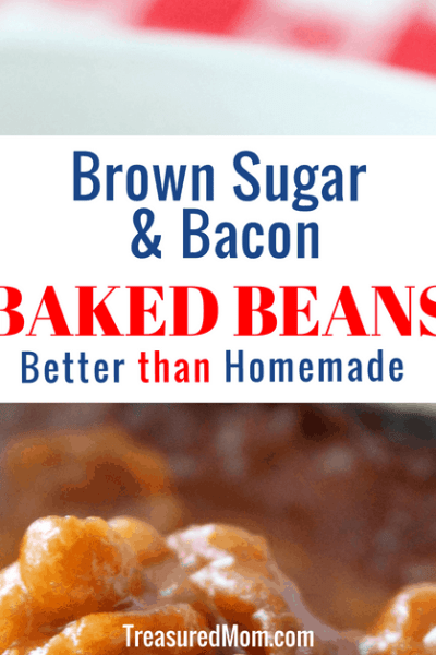 Brown Sugar and Bacon Baked Beans in white casserole dish