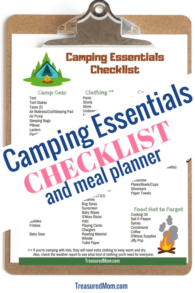 Camping Essentials Checklist on a clipboard