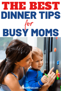 busy mom with son for best dinner tips for busy moms