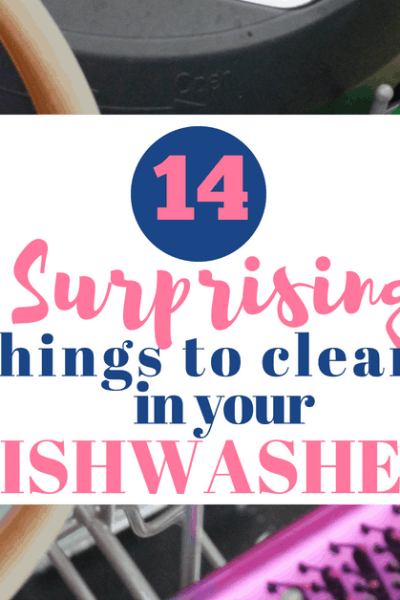 hair brush, Instant Pot lid, silicone, and lego in dishwasher basket for Surprising Things you can Clean in your Dishwasher post