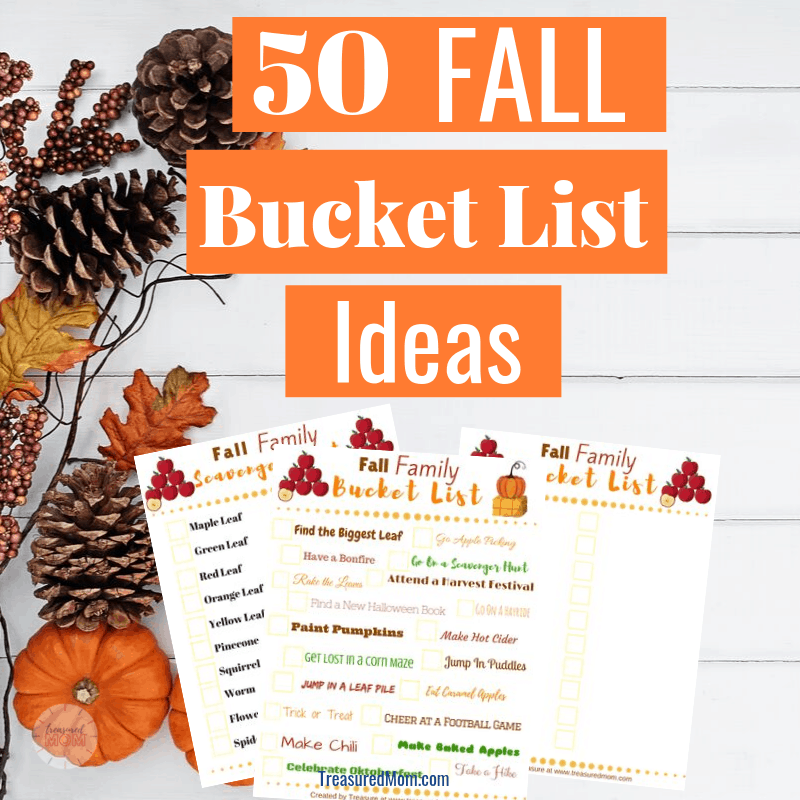 Free printable Fall Bucket List Ideas and scavenger hunt for Families on flatlay with pumpkins, pinecones, and branches