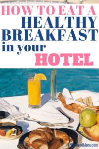 healthy hotel breakfast with orange juice, fruit, toast near pool