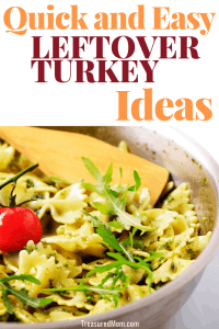 Quick and Easy Leftover Turkey Ideas picture of bowl with pesto pasta