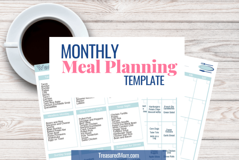 monthly meal planning theme lists and templates on desk