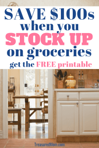 kitchen and title for stock up on groceries to save money plus free printable
