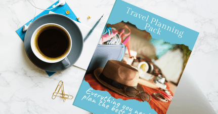 Printable Travel Planner Pack on desk with coffee and paperclips