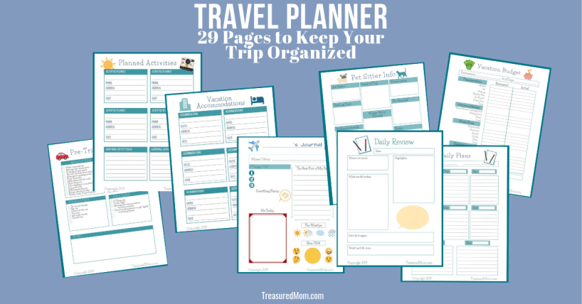 29 page printable travel planner