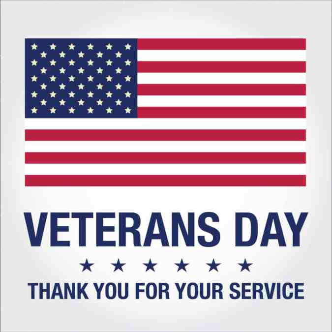 CLOSED Monday 12th November for VETERANS DAY