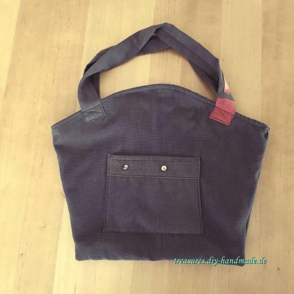 Stofftasche anthrazit rot, Handtasche