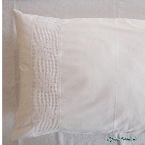 weißer vintage Kissenbezug