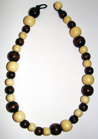 Necklace     Size Medium/Adult   9.5 in Made with Leather Cord and 36 Wood Beads $10.00