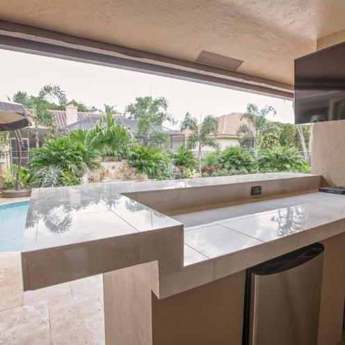Kitchen Near A Pool
