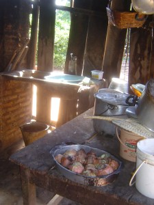 The kitchen where food is prepared.