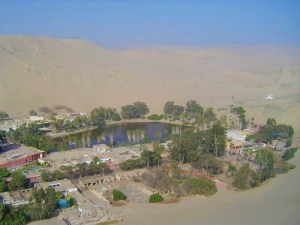 The oasis of Huacachina from the top of the sand dune!