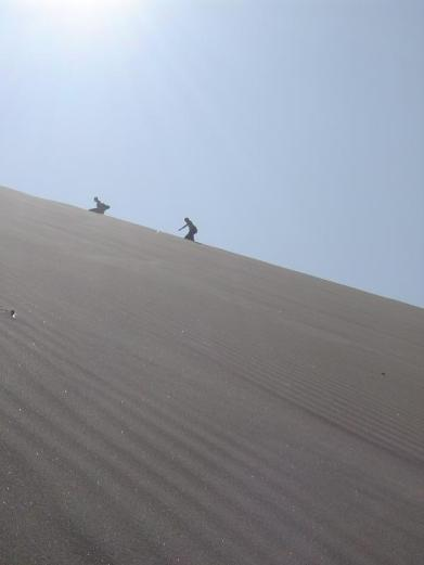 Some sandboarders making their way back to the top of the sand dune!