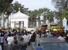 Funeral procession in Pisco that ended at this cemetery.