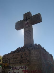 One of the crosses along the walk up to Cerro Calvario.