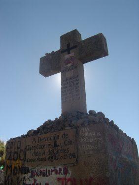 One of the crosses along the walk up to Cerro Calvario.