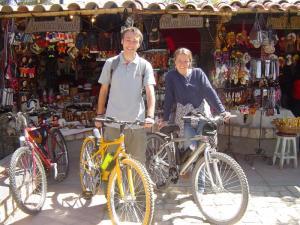 My friend Joni showing me around Huancayo on bicycles!