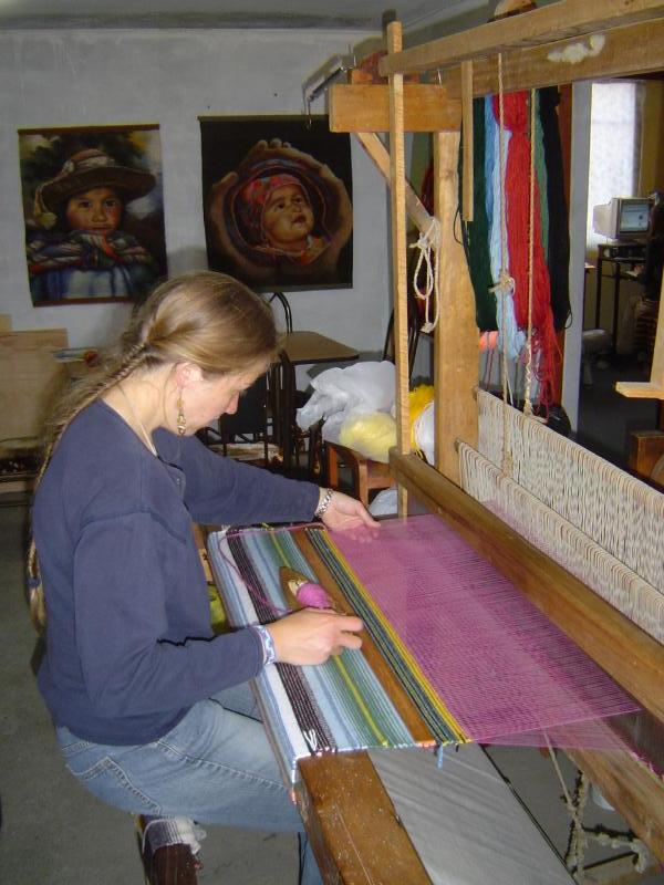 My friend Joni teaching me how to use a loom to make blankets and other art work!