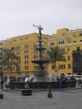 One of the fountains of Plaza Mayor in Lima, Peru.