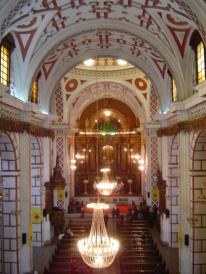 The nave of the monastery of San Francisco in Lima, Peru.