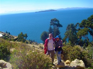 Joni & I on hiking along Isla del Sol with Lake Tititcaca in the background.