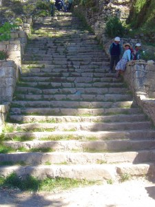 Steps up to the top of Isla del Sol.