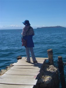 Joni enjoying the view of Lake Titicaca from Isla del Sol.