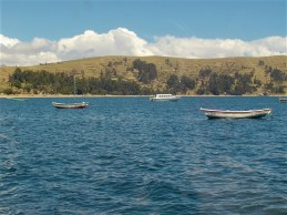 A view of main land Bolivia while returning from a day trip to Isla del Sol on one of the boat taxis!