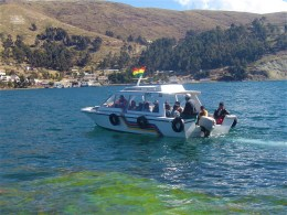 One of the many water taxis making the trip from Copacabana to Isla del Sol.