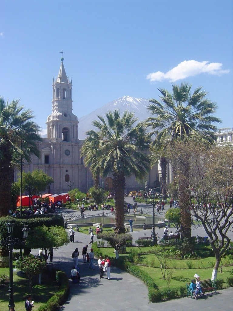 The Cathedral of Arequipa and Plaza de Armas with the Volcano El Misti looming in the background!