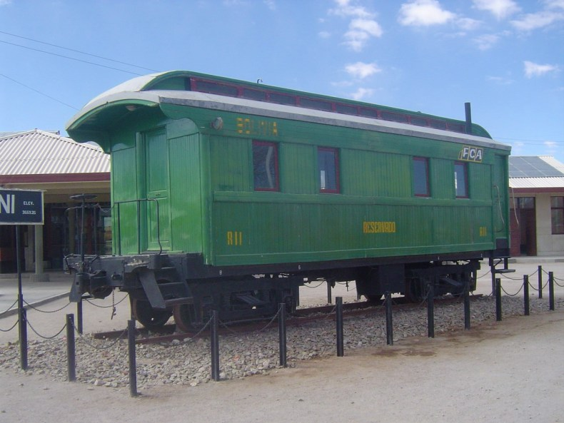 Uyuni is known for the railroad and this is one of their train relics on display.