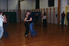 Teaching the students of the Gymnastics and Sports Academy of Viborg to salsa dance.