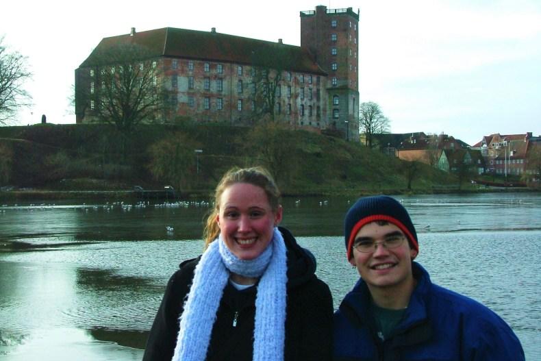 Sarah Beth and Greg in front of Kolding Castle (Koldinghus) located along the shore of Slotsø Lake.