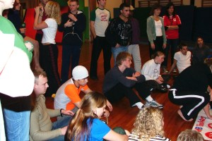Playing games with the students of the Gymnastics and Sports Academy of Viborg.