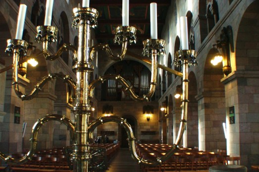 The Viborg Cathedral includes the large seven branch candelabra on the altar which was created in Lubeck in 1494.