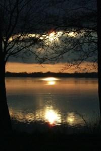 Sunset over Søndersø Lake in Viborg, Denmark.