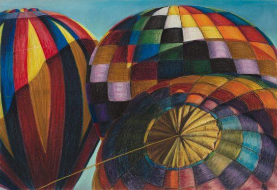 Balloons at Ann Morrison Park, Pastel, 32 x 22