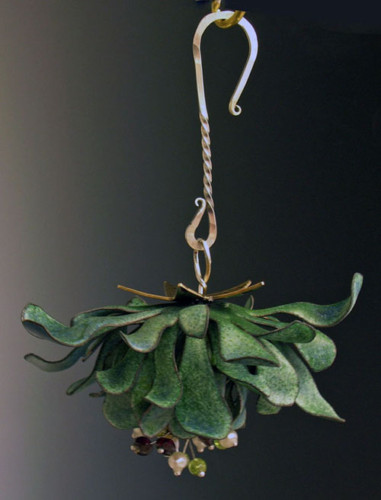 Everlasting Mistletoe. Vitreous enamel over hand-forged copper, hand-forged sterling hook, garnets, peridots, freshwater pearls, fine silver.