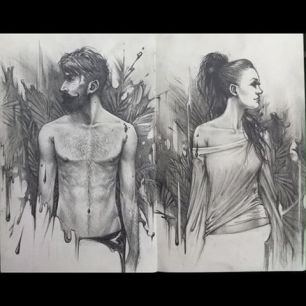 """Adam & Eve"" graphite on paper"