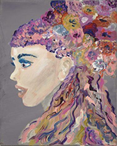 Jeune Fille De Fleurs in acrylic by Cyndi Blue 8