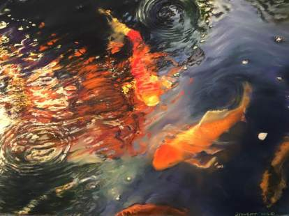 """Koi in the Garden"" pastel o paper. 22"" x 30"