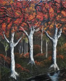 Autumn diptych left - 24x30 mixed media using cloth, enamel, and oil paint on canvas