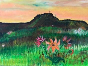 Flowers Among the Sage Brush, acrylic on canvas