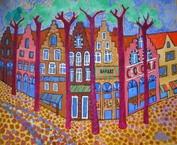 Belgium, Oil:Canvas with Gold Acrylic 30x36