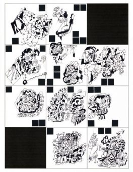 Grid One, collage of original ink drawings, matted and framed