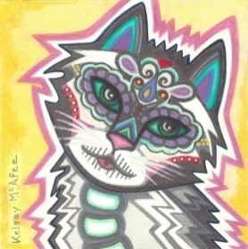 """""""Cats of Life and Death #2"""", Mixed Media on Canvas, 6"""" x 6"""""""