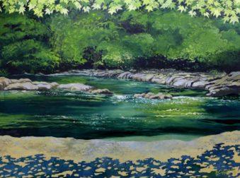 "Fall Creek. 34""x46"", Oil on canvas"